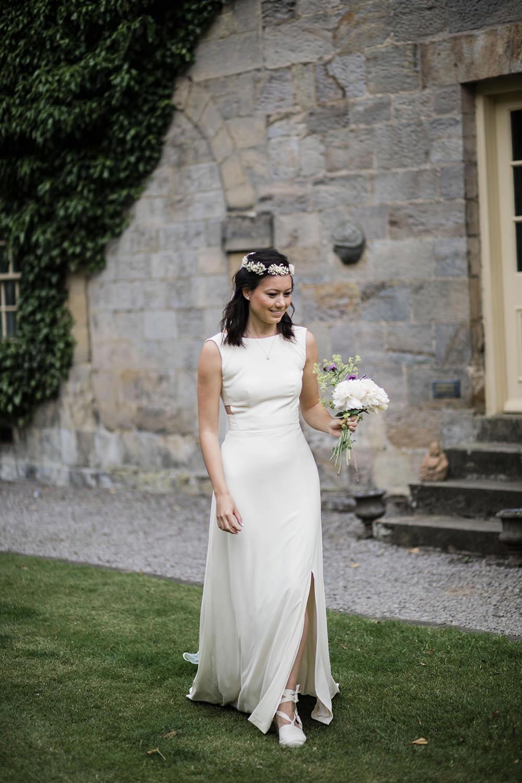Bride Bridal Boat Neck Cut Out Dress Gown Flower Floral Crown Veil Espadrilles Marquee Castle Wedding Rachael Fraser Photography