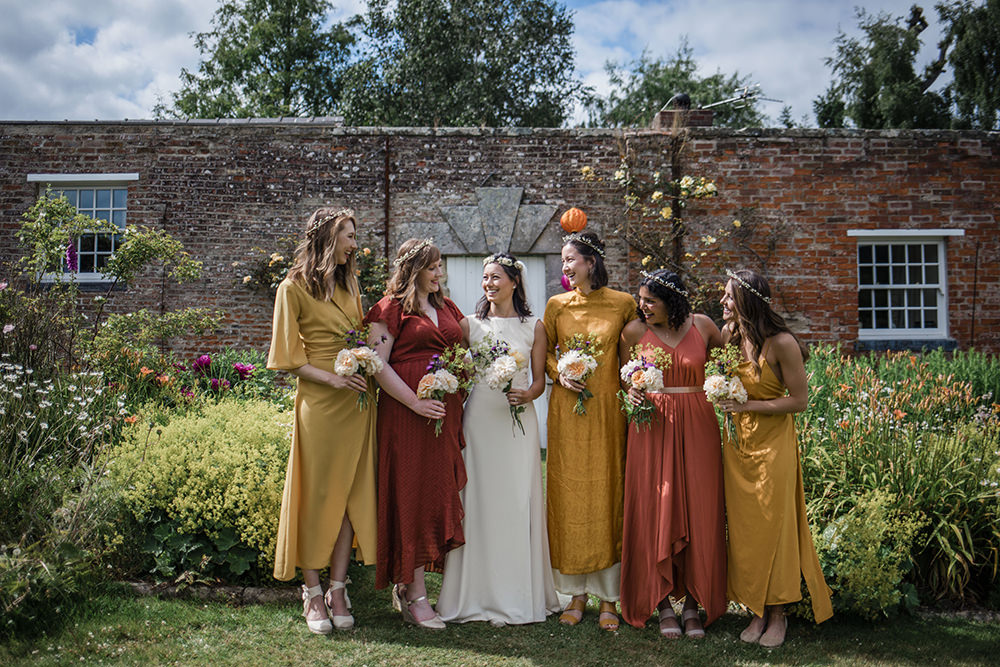Bride Bridal Boat Neck Cut Out Dress Gown Flower Floral Crown Veil Yellow Orange Red Mismatched Bridesmaids Marquee Castle Wedding Rachael Fraser Photography