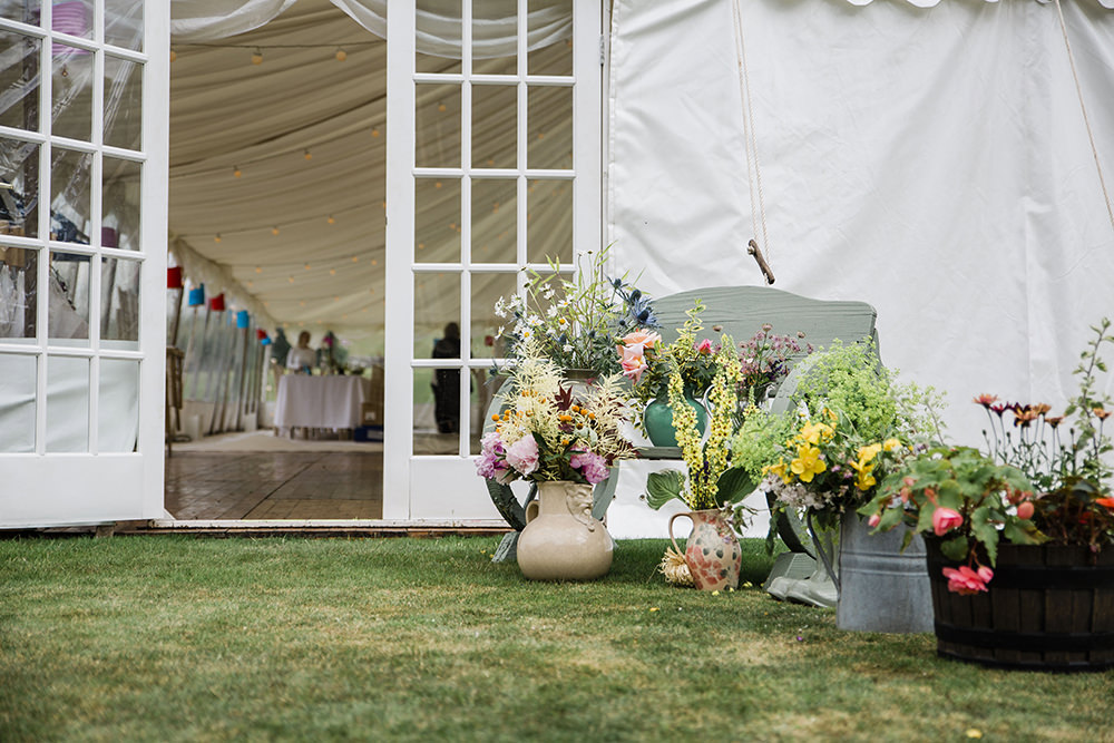 Flowers Floral Pot Plants Marquee Castle Wedding Rachael Fraser Photography