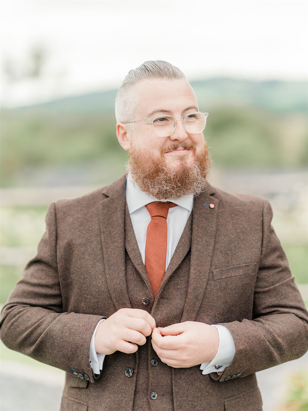 Slaters Tweed Three Piece Suit Waistcoat Groom Surprise Wedding Carn Patrick Photography