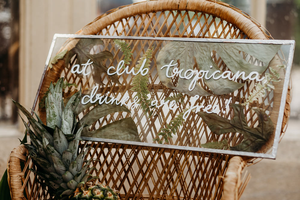Glass Clear Perspex Acrylic Calligraphy Sign Signs Signage Tropical Wedding Ideas When Charlie Met Hannah
