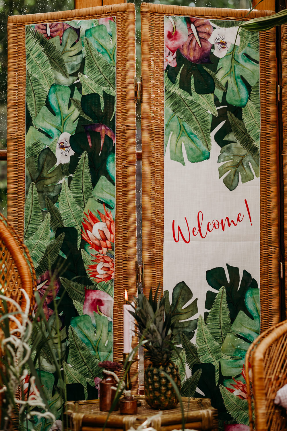 Jungle Palm Leaf Stationery Welcome Sign Painted Signs Signage Tropical Wedding Ideas When Charlie Met Hannah