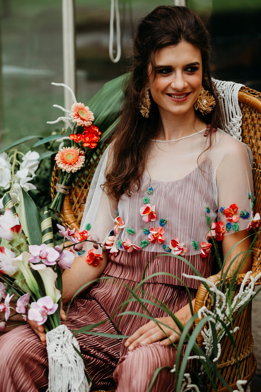 Bride Bridal Jumpsuit Pink Cape Tropical Wedding Ideas When Charlie Met Hannah
