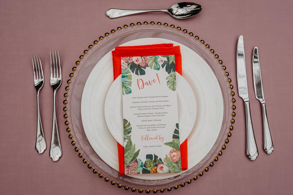 Place Setting Menu Plates Tropical Wedding Ideas When Charlie Met Hannah