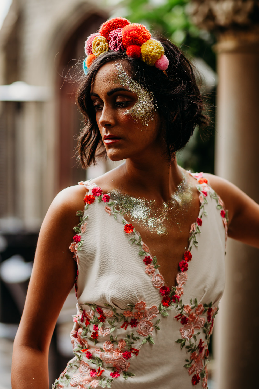 Bride Bridal Glitter Make Up Pom Pom Crown Tiara Tropical Wedding Ideas When Charlie Met Hannah