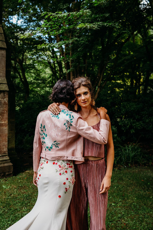 Bride Bridal Jacket Pink Painted Personalised Leather Tropical Wedding Ideas When Charlie Met Hannah