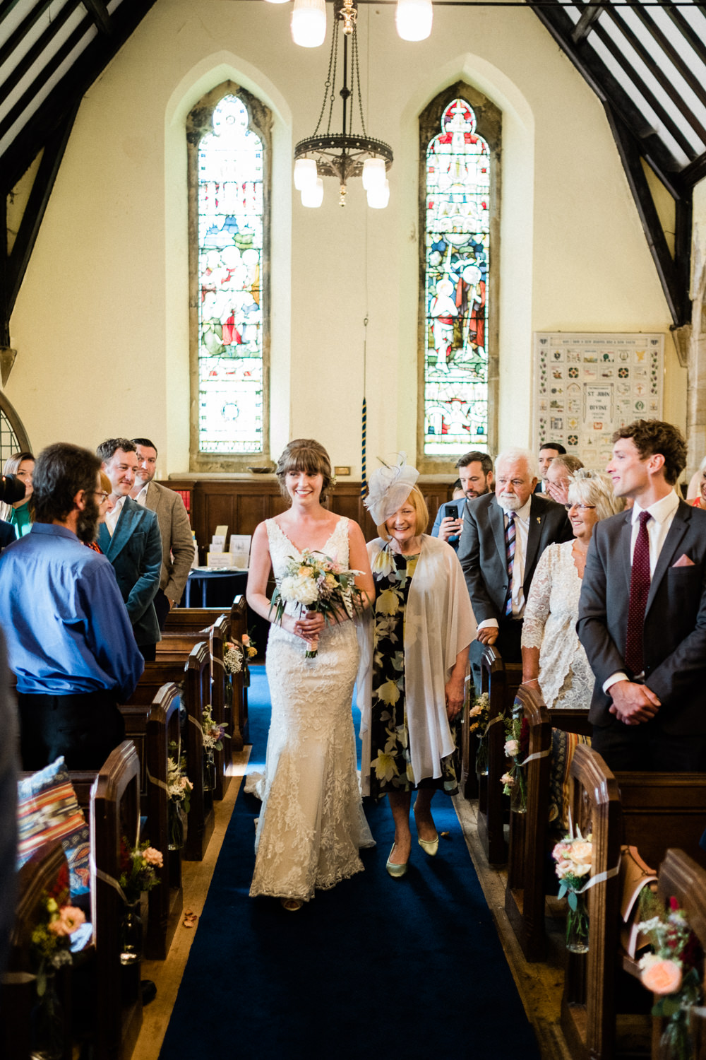 Bride Bridal Low V Neck Back Gown Dress Bouquet Utopia Broughton Hall Wedding Christopher Thomas Photography