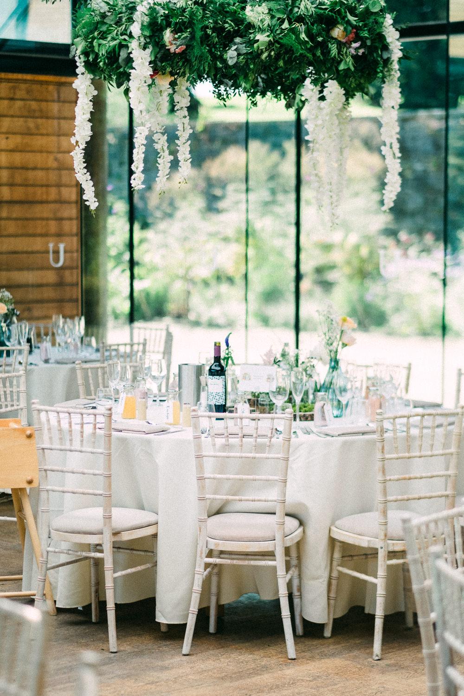 Hanging Floral Chandelier Greenery Utopia Broughton Hall Wedding Christopher Thomas Photography