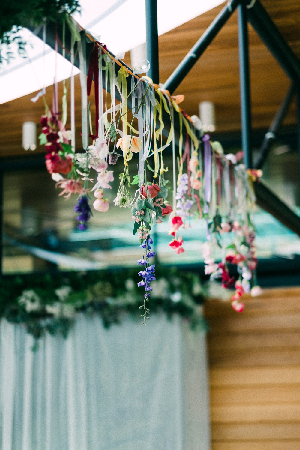Hanging Florals Flowers Wildflower Ribbon Utopia Broughton Hall Wedding Christopher Thomas Photography