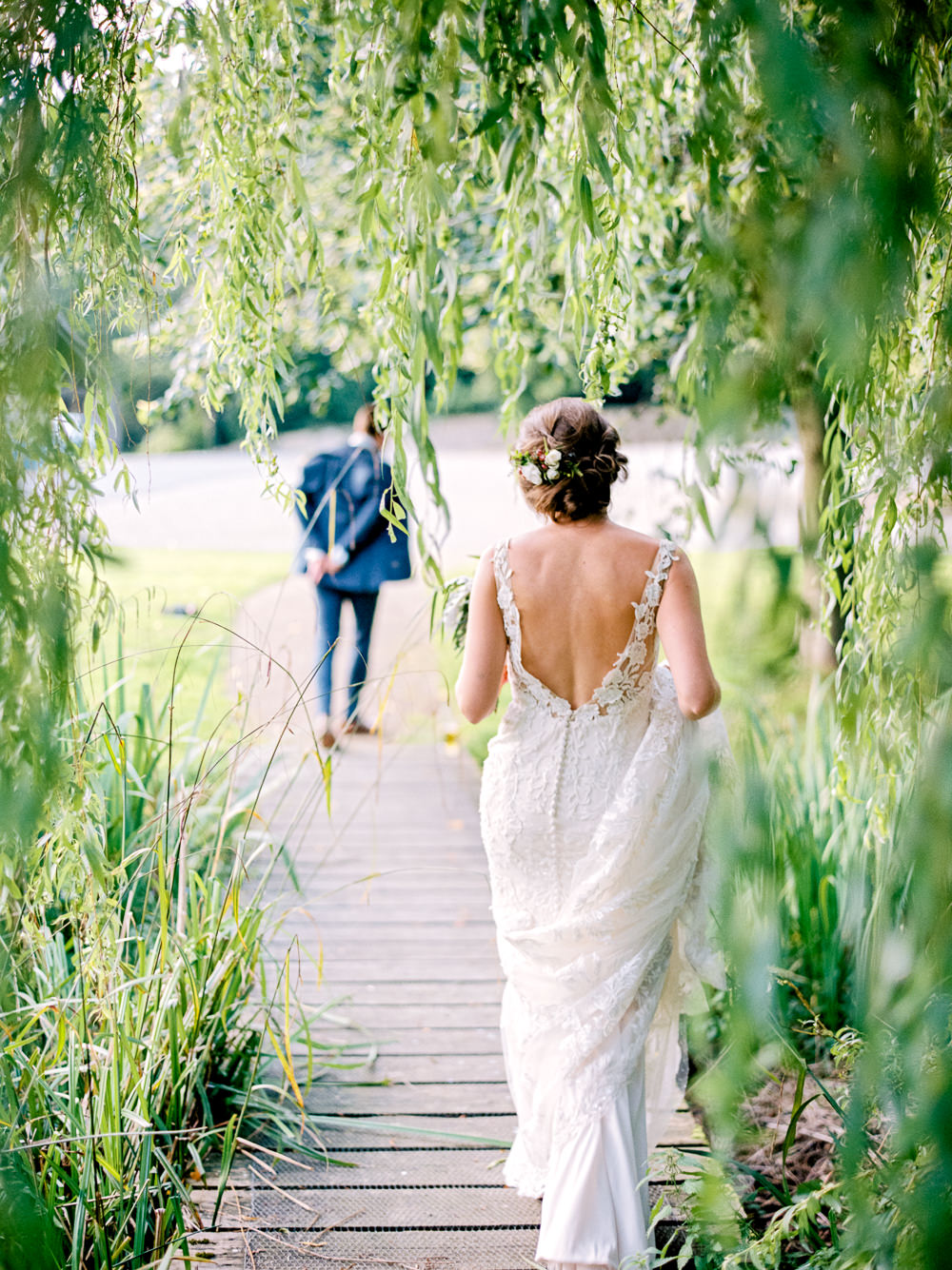 Bride Bridal Low V Neck Back Gown Dress Navy Three Piece Waistcoat Suit Groom Utopia Broughton Hall Wedding Christopher Thomas Photography