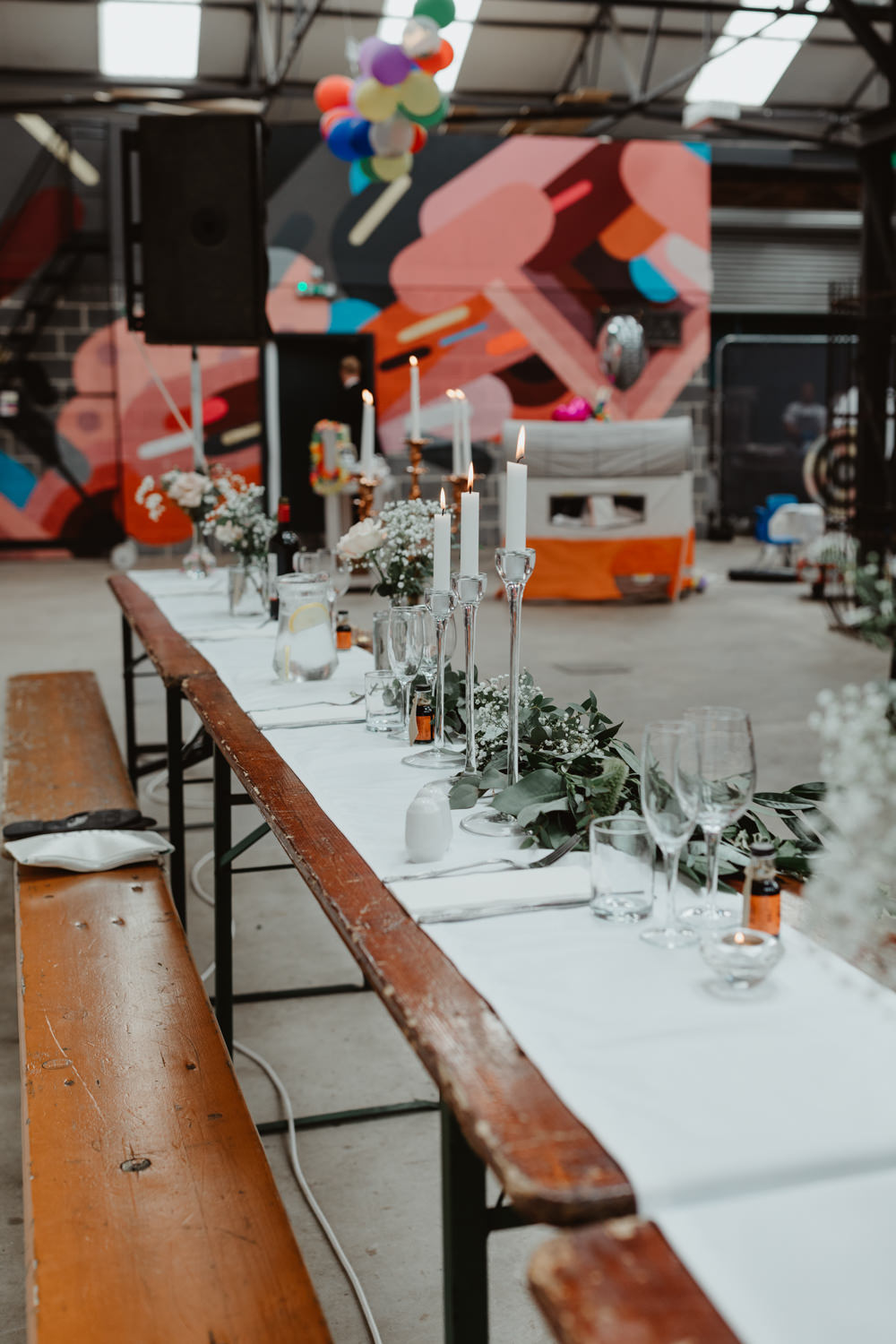 Reception Venue Industrial Warehouse Benches Long Tables Flowers Decor Decoration Runners Festoon Lights Candles 92 Burton Road Wedding Stevie Jay Photography