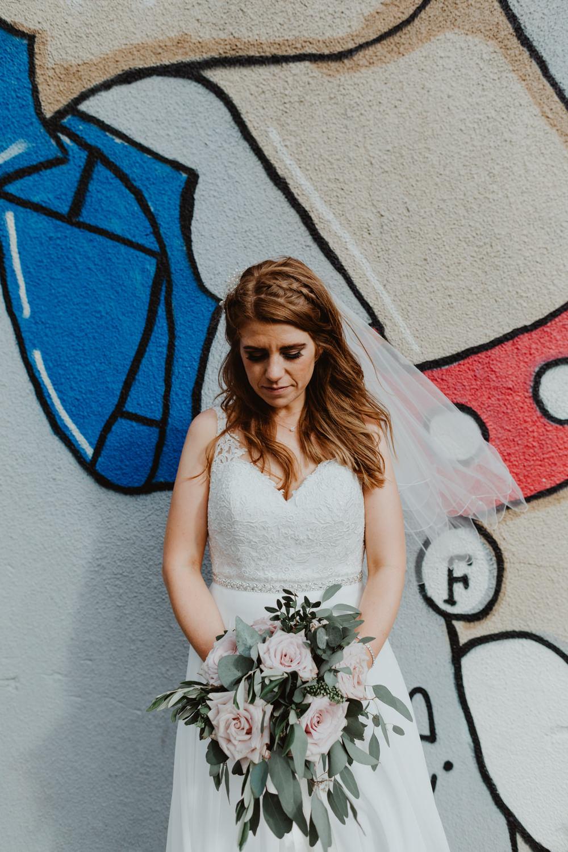 Dress Gown Bride Bridal Lace Straps Train Veil 92 Burton Road Wedding Stevie Jay Photography