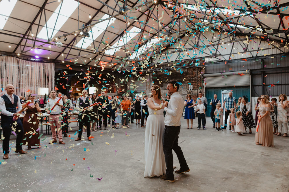 Confetti Cannon Dancefloor First Dance 92 Burton Road Wedding Stevie Jay Photography