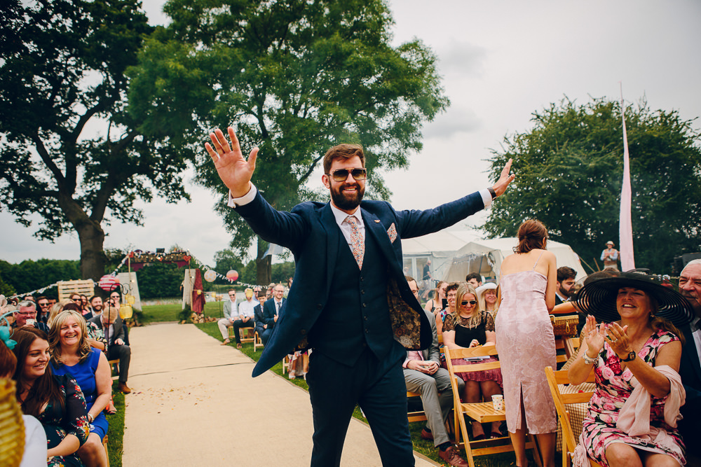 Groom Suit Navy Floral Tie Alderford Lake Wedding Amy B Photography