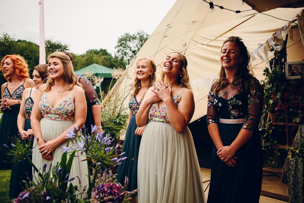 Bridesmaids Bridesmaid Dress Dresses Needle & Thread ASOS Sequin Glitter Floral Alderford Lake Wedding Amy B Photography