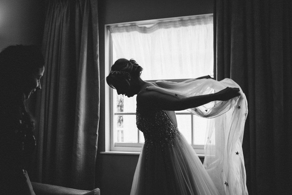 Dress Gown Bride Bridal Star Veil Glitter Tulle Princess Cape Alderford Lake Wedding Amy B Photography
