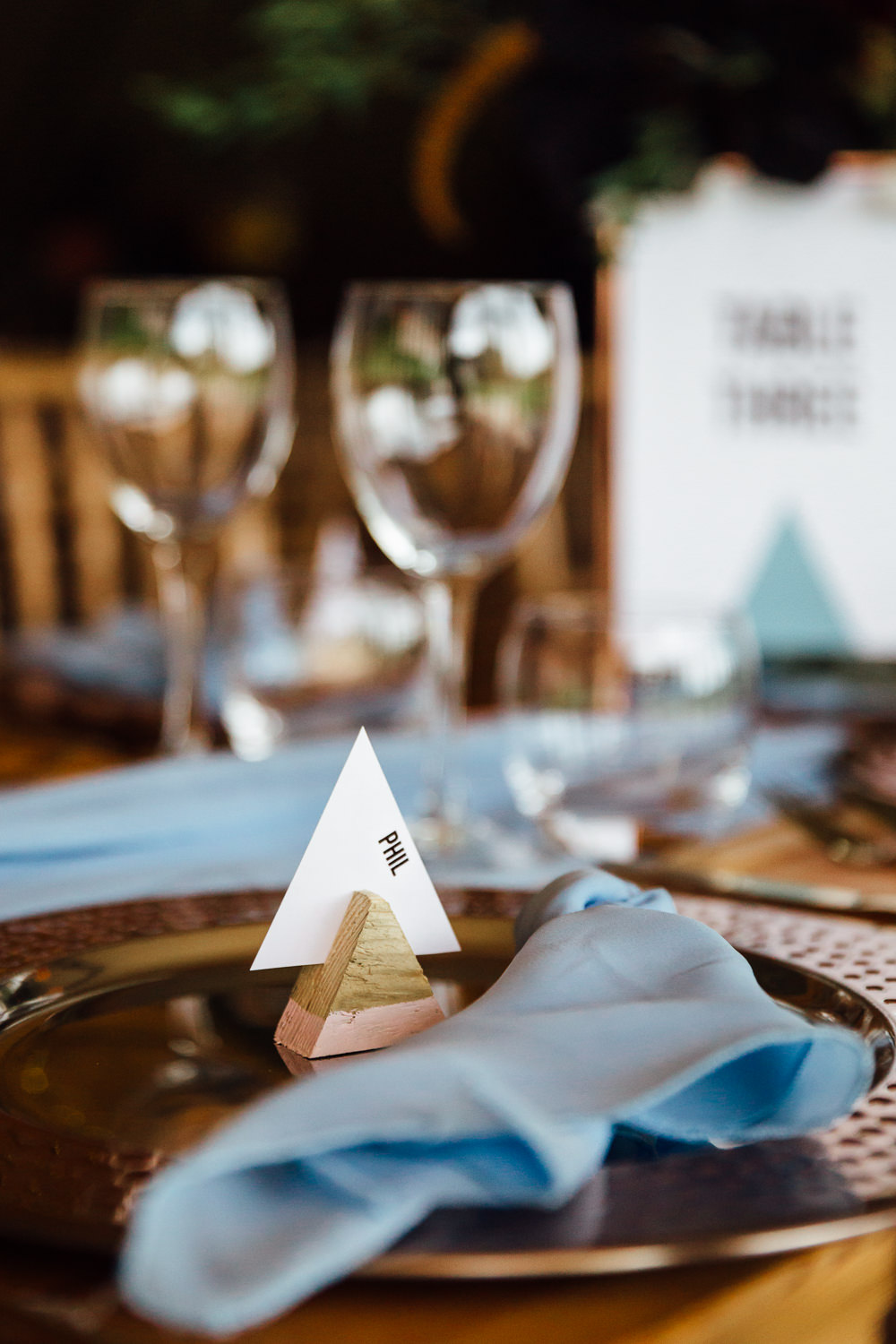 Triangle Place Name Cards Autumn Festival Wedding Ideas Indigo and Violet Photography