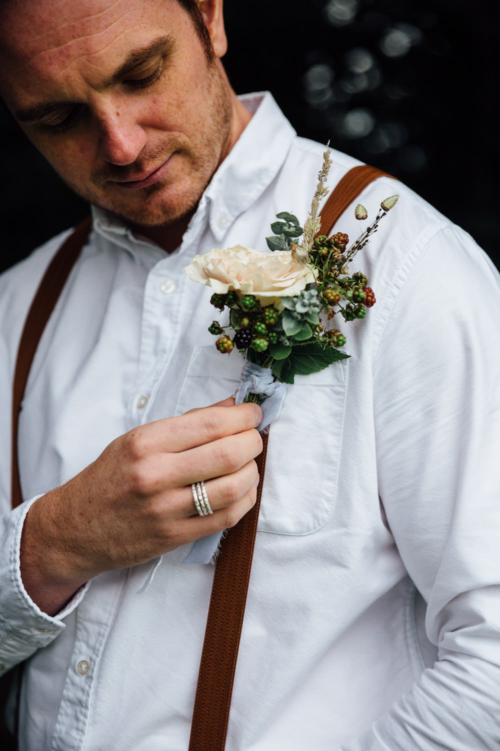 Groom Buttonhole Flowers Braces Autumn Festival Wedding Ideas Indigo and Violet Photography