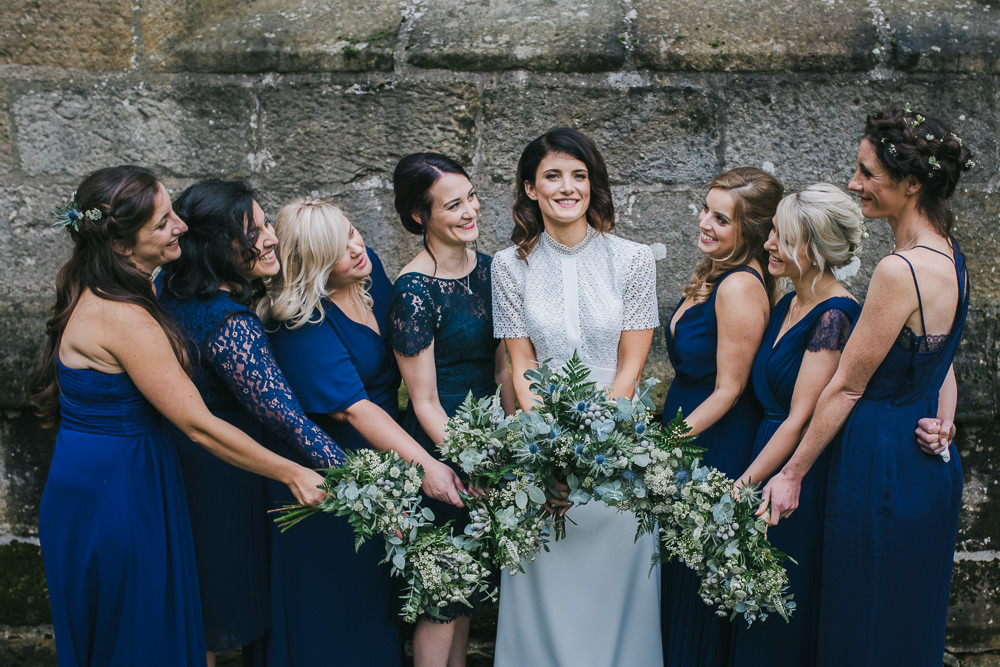 Bridesmaid Bridesmaids Dress Dresses Dark Blue Mismatched Cosy Autumn Wedding Amy Jordison Photography