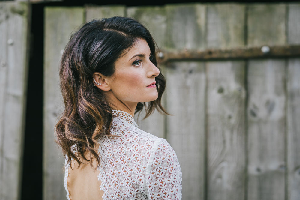 Bride Bridal Hair Make Up Short Waves Bob Cosy Autumn Wedding Amy Jordison Photography
