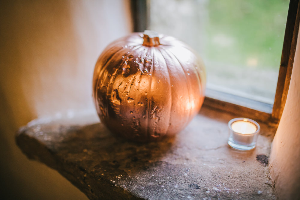 Copper Painted Pumpkin Decor Cosy Autumn Wedding Amy Jordison Photography