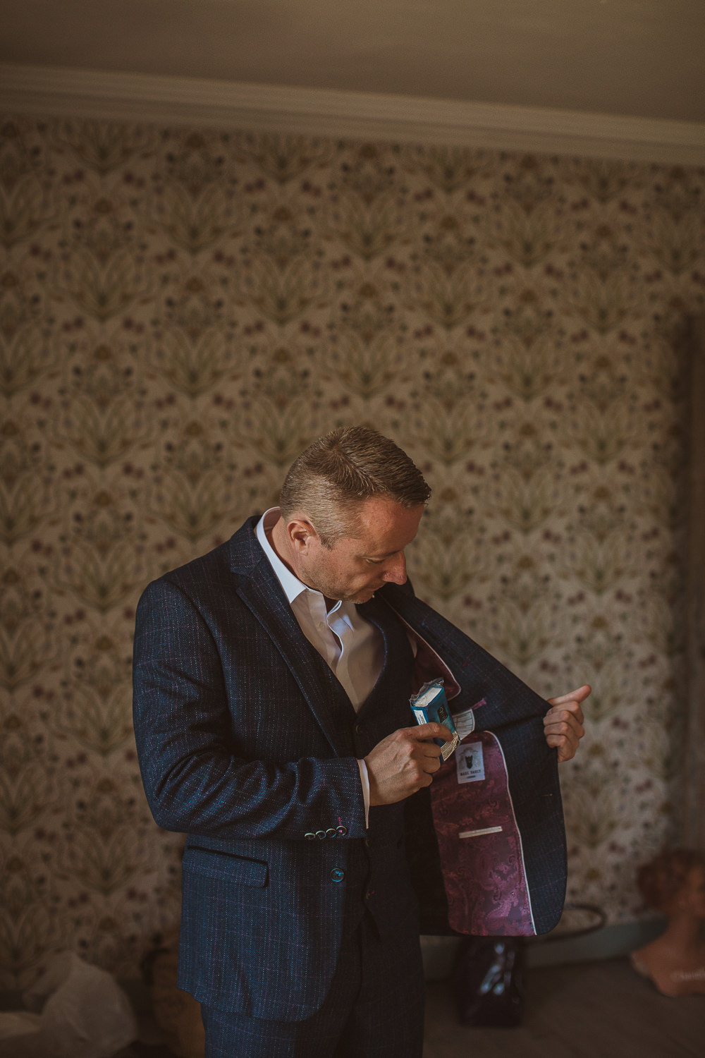 Groom Blue Navy Suit Lining Escape To The Chateau Wedding The Springles
