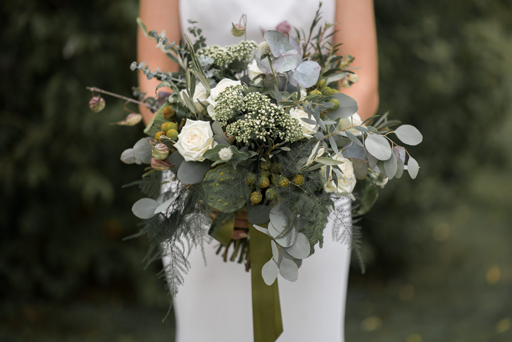 Bride Bridal Bouquet Flowers Grenery Foliage Ribbon Eucalyptus Fern Seeds Rose Minimalist Wedding Ideas Nicola Belson Photography