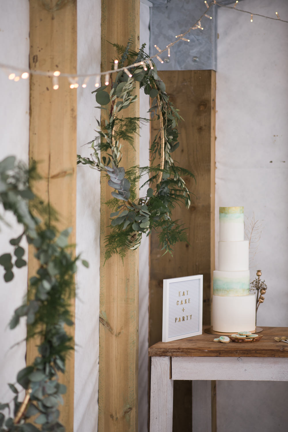 Cake Iced Tall Green Gold Painted Watercolour Flower Heads Wreaths Hoops Minimalist Wedding Ideas Nicola Belson Photography