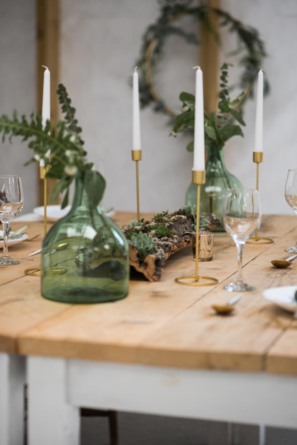 Green Bottle Vase Flowers Greenery Foliage Flowers Candes Table Tablescape Decor Decoration Minimalist Wedding Ideas Nicola Belson Photography