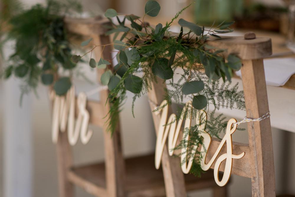 Sign Signage Signs Chairs Greenery Foliage Minimalist Wedding Ideas Nicola Belson Photography