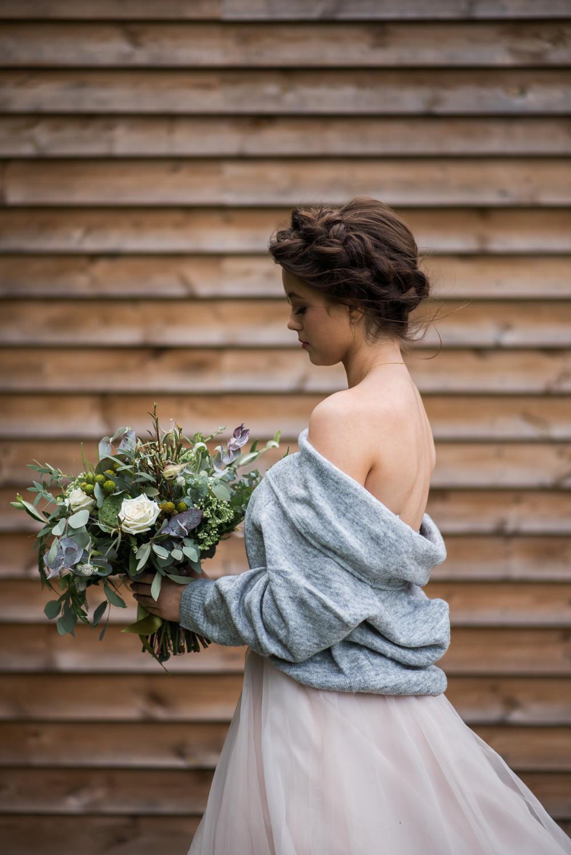 Bride Bridal Dress Gown Essense of Australia Tulle Cardigan Shawl Minimalist Wedding Ideas Nicola Belson Photography