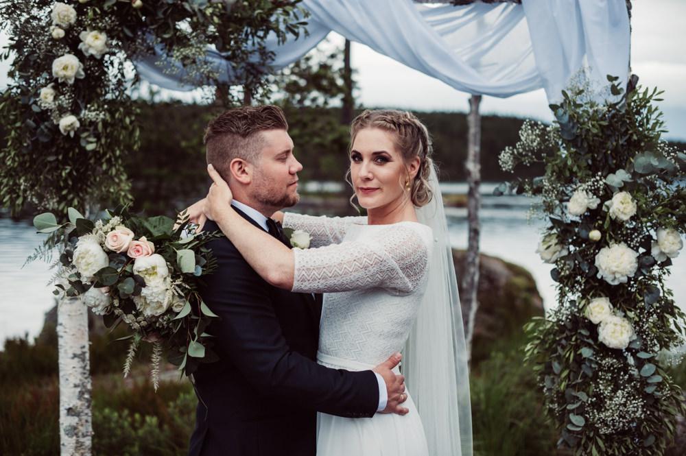 Outdoor Ceremony Backdrop Flower Arch Fabric Greenery Foliage Aisle Norway Wedding Maximilian Photography
