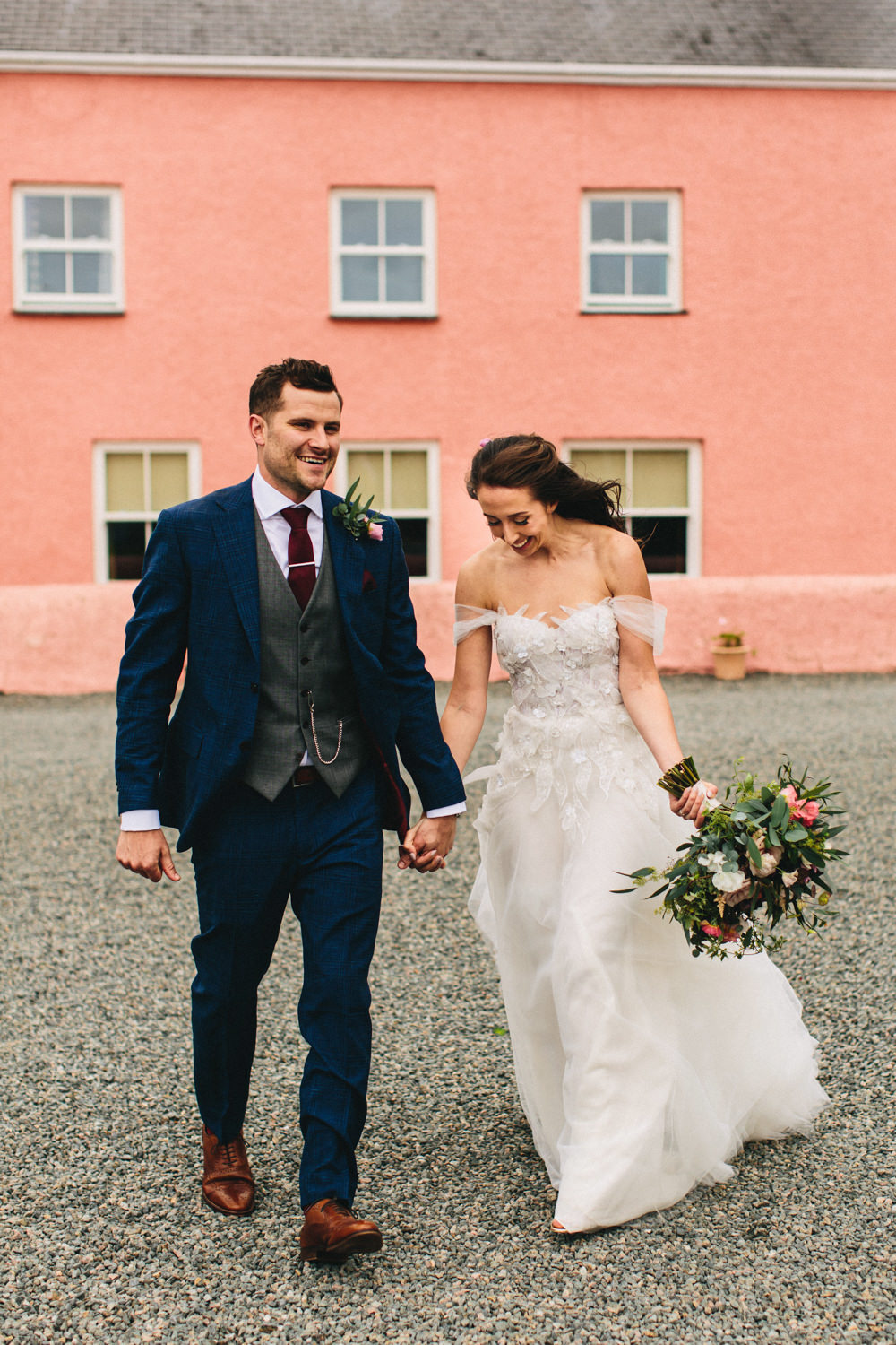 Dress Gown Bride Bridal Off Shoulder Bardot Tulle Floaty Mira Zwillinger Outbuildings Wedding Jessica O'Shaughnessy Photography