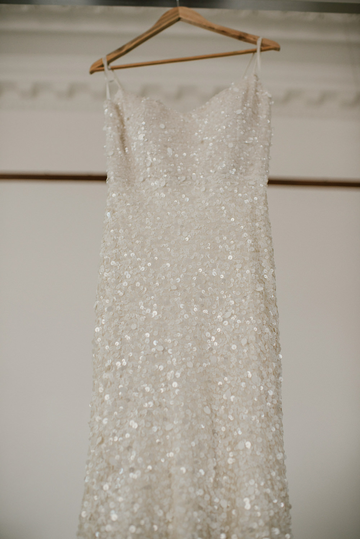 Karen Willis Holmes Sequin Dress Gown Bride Bridal Riverside London Wedding Ellie Gillard Photography