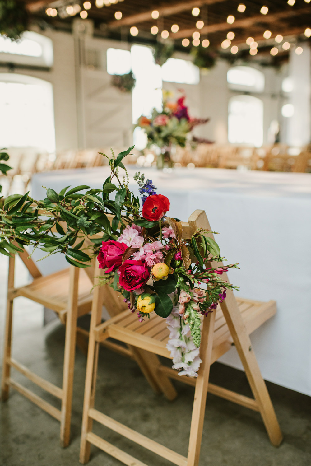 Chair Flowers Decor Spring Coral Peony Natural Wild Colourful Riverside London Wedding Ellie Gillard Photography