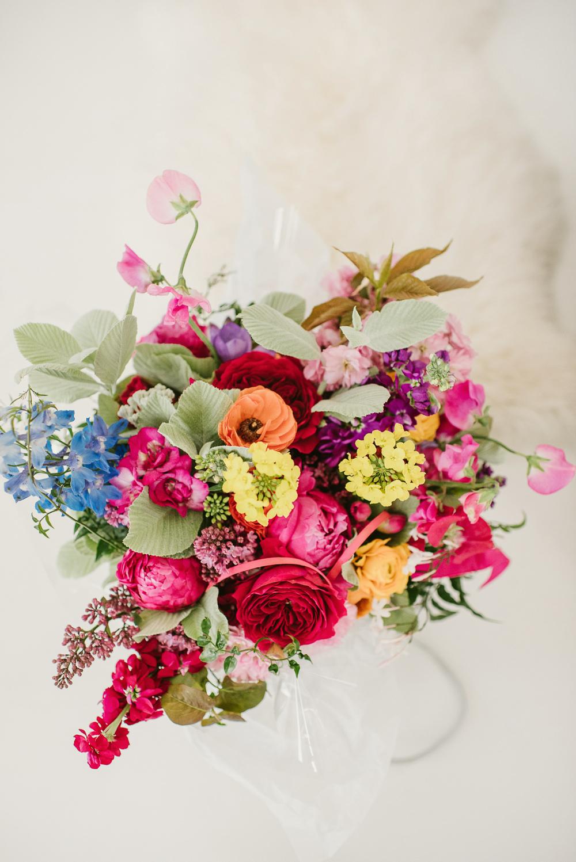 Bouquet Flowers Bride Bridal Colourful Spring Rose Peony Sweet Peas Riverside London Wedding Ellie Gillard Photography