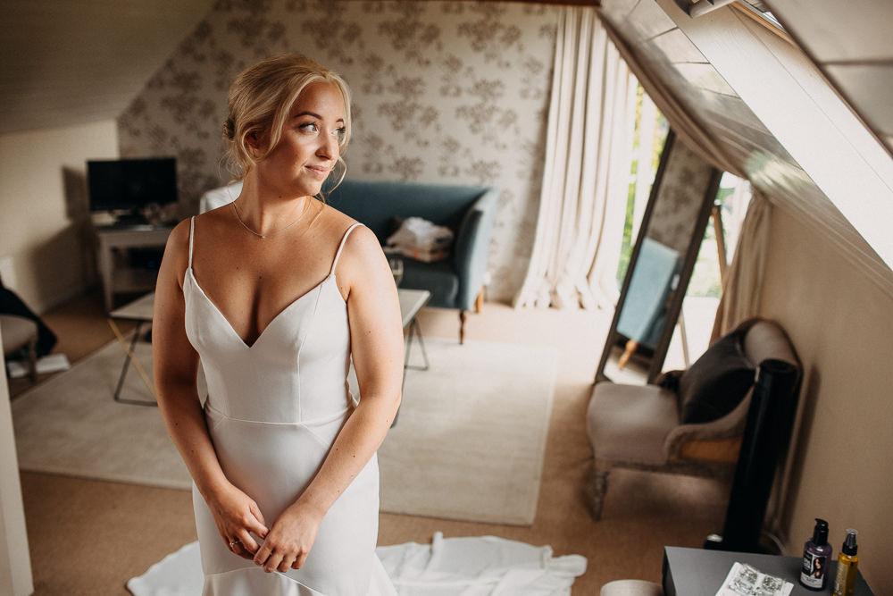 Bride Bridal Dress Gown Stella York Straps Train Veil Floral Petals South Farm Wedding Miracle Moments