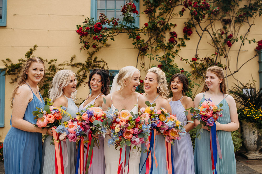 Bridesmaids Bridesmaid Dress Dresses Blue Lilac Mismatched Bouquet Flowers Bride Bridal Coral Peony Peonies Pink Rose Ribbons Delphinium Hydrangea Bridesmaids South Farm Wedding Miracle Moments