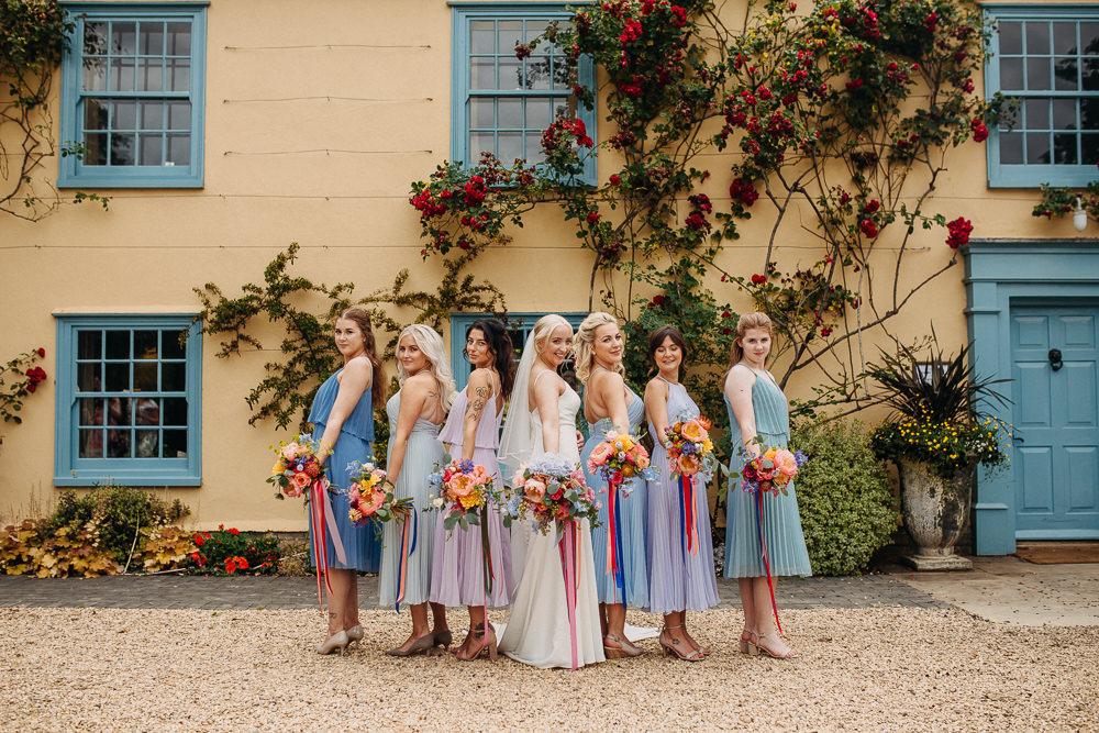 Bridesmaids Bridesmaid Dress Dresses Blue Lilac Mismatched South Farm Wedding Miracle Moments
