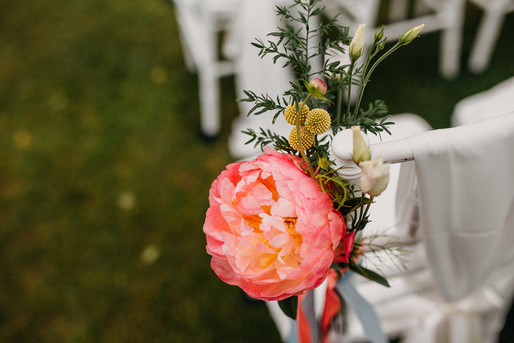 Flowers Pew End Aisle Ceremony Coral Peony Peonies Pink South Farm Wedding Miracle Moments