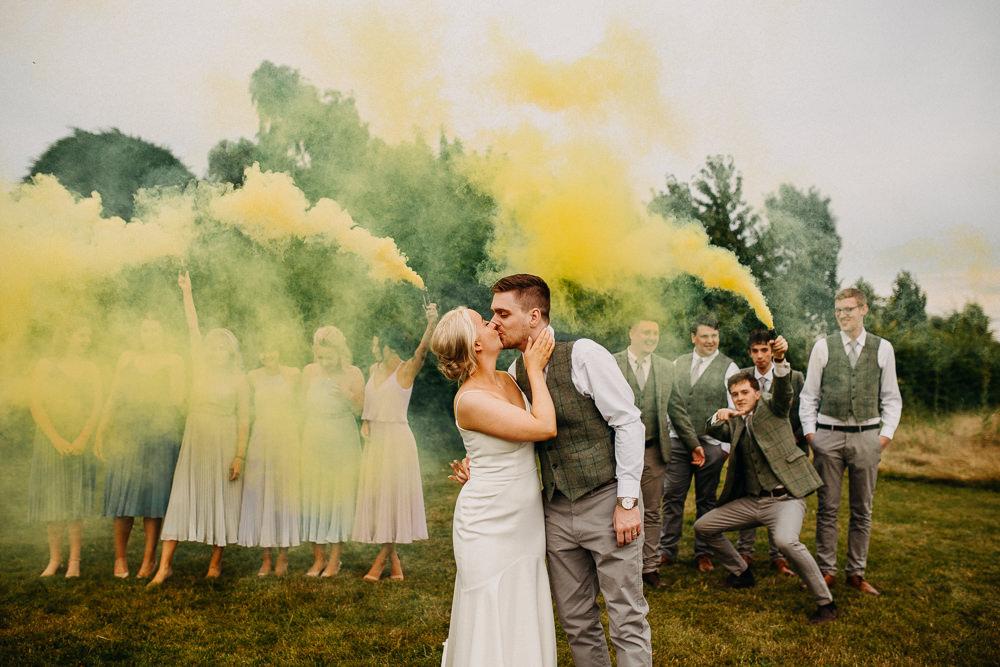 Smoke Bomb Photo Portrait Photographs Yellow South Farm Wedding Miracle Moments
