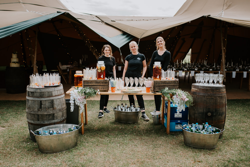 Drinks Bar Stand Station Tipi Hertfordshire Wedding Michelle Cordner Photography