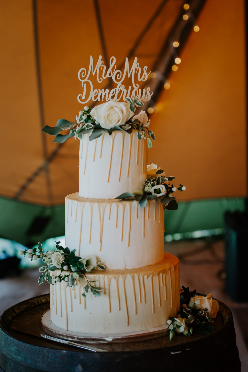Drip Cake Laser Cut Topper Greenery Foliage Flowers Tipi Hertfordshire Wedding Michelle Cordner Photography