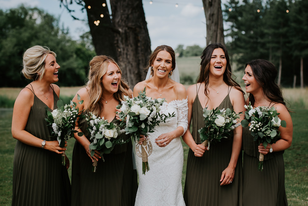 Bridesmaids Bridesmaid Dress Dresses Green Maxi Long Greenery Bouquets Flowers Tipi Hertfordshire Wedding Michelle Cordner Photography