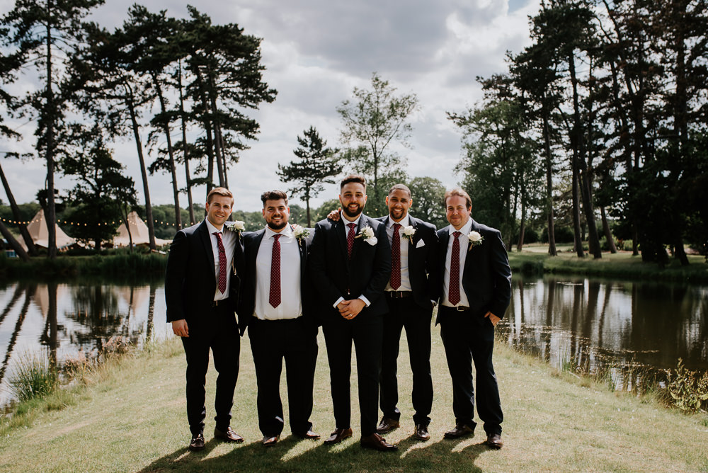 Groom Groomsmen Suits Tipi Hertfordshire Wedding Michelle Cordner Photography