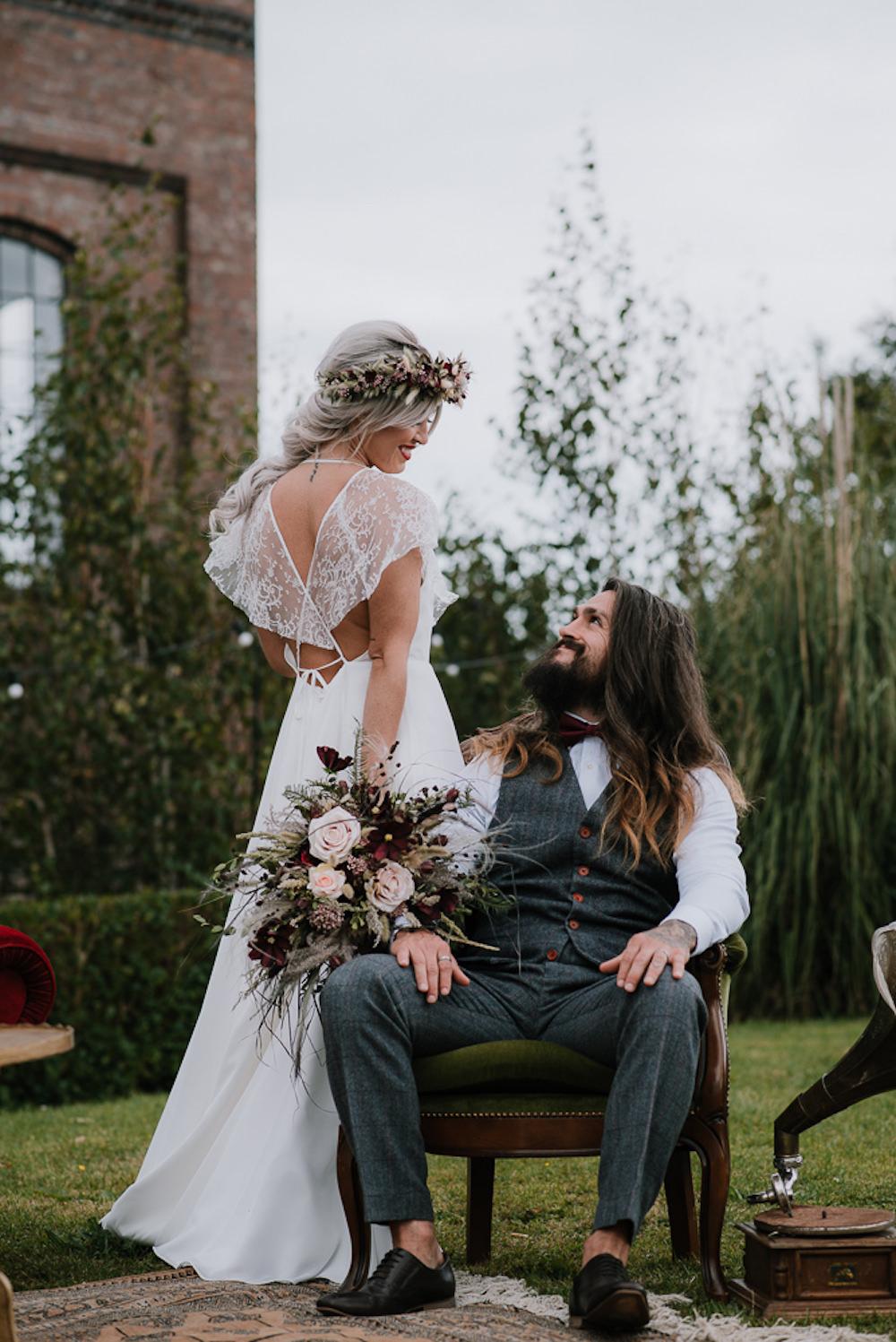 Bride Bridal Dress Gown Lace Back Lisa Lyons Unconventional Wedding Ideas Pierra G Photography