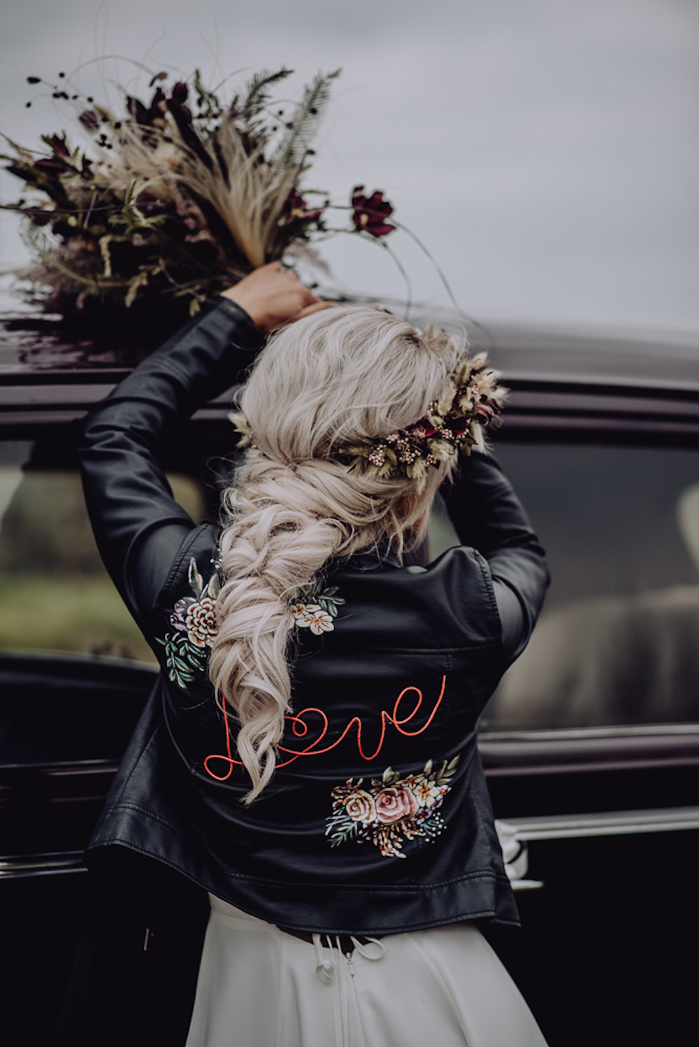 Leather Jacket Personalised Painted Bride Bridal Hair Style Up Do Plait Braid Flower Crown Unconventional Wedding Ideas Pierra G Photography