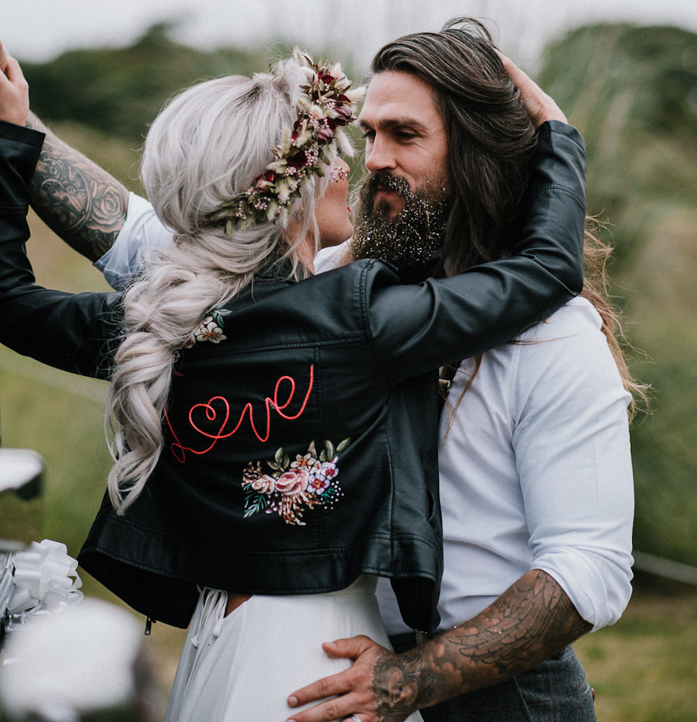 Leather Jacket Personalised Painted Bride Bridal Unconventional Wedding Ideas Pierra G Photography