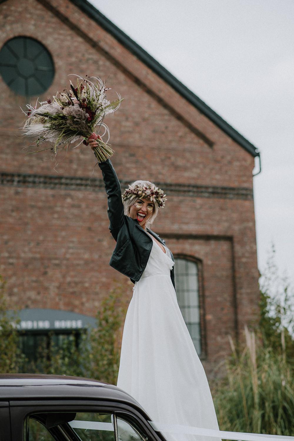 Bride Bridal Dress Gown Lace Back Lisa Lyons Leather Jacket Unconventional Wedding Ideas Pierra G Photography