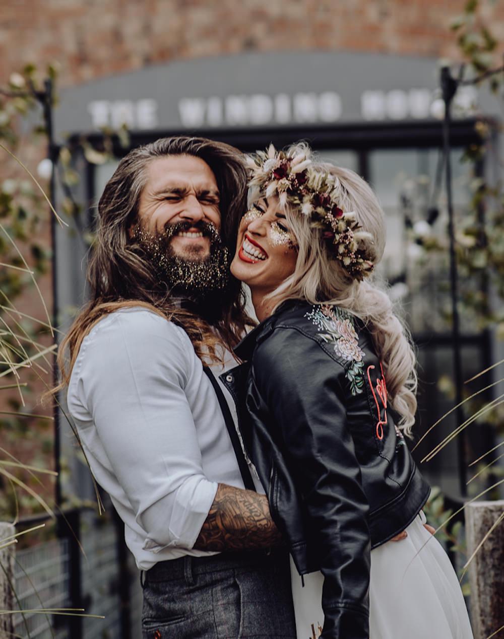 Glitter Beard Groom Make Up Bride Bridal Unconventional Wedding Ideas Pierra G Photography